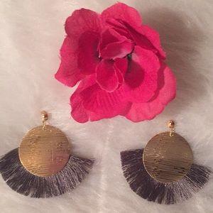 Palm Beach Boho Style Gray Fringe Earring
